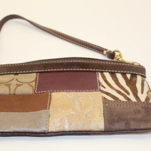Coach Mixed leather wristlet